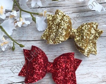 valentines bows, red bow, gold bow, hair bow, glitter bow, hair clip, headband