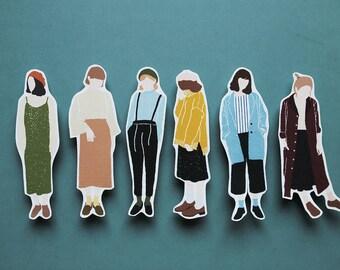 Autumn Girls - Sticker Set (Transparent)