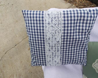 Vintage 1980s handmade navy blue gingham check and lace pillow