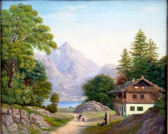 Antique 1857, Mountain Landscape Oil Painting, with a Tyrol House