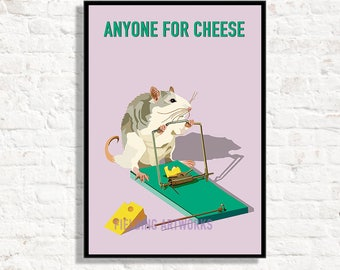 Personalise, Kitchen print. Mouse poster is a fun graphic for any foodie. Cheese print,