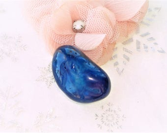 Pearl stone ultramarine blue azurite polished 35 mm