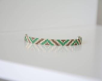 Miyuki delicas green and Brown woven bracelet