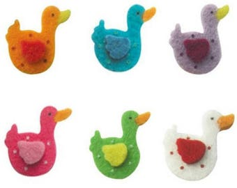 Set of 6 small duck felt at the top color and quality!