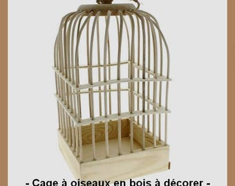 Bird cage wooden blank - 32 x 16.5 x 16.5 cm.