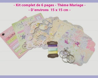 ♥ Complete Kit for creating 6 pages theme wedding album.