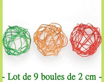 Ball wire set red, orange and green 2 cm - set of 9 - new