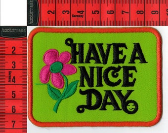 "Coat of arms ""Have a nice day"" fusible or sewing. Patch applique"