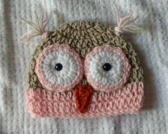 Newborn crochet owl hat baby shower gift for baby girl or baby boy