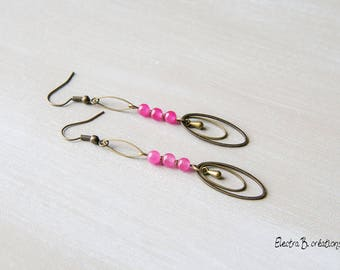 "Bronze ""Muse"", brass and fuchsia pink jade earrings"