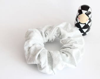 Grey elastic scrunchie with white flowers