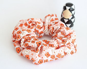 Scrunchies fabric floral orange and black vintage fabric