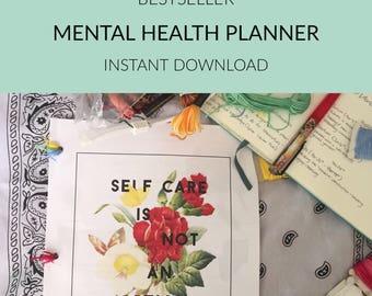 Ultimate Self Care Planner, Modern,Floral,Printable Planner, Mental Health, Sleep Tracker, A5