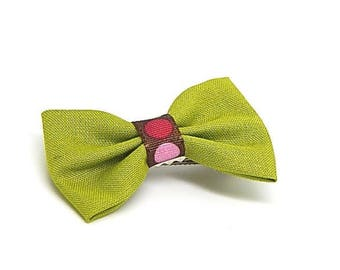 Lime Green bow hair clip fabric