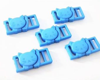 "5 Blue Cat Collar Buckles - 3/8"" Cat Head Breakaway Buckles - Cat Collar Parts"