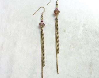 Boreal purple long dangle earrings