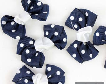 Set of 10 knots 64 * 42 * 12 mm Navy blue dot grosgrain