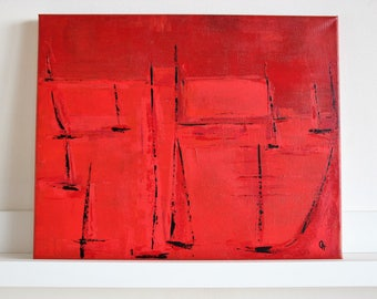 -Red abstract - abstract painting 41x33cm