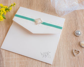 Handmade Pocketfold Wedding Invitation GreenDiamond