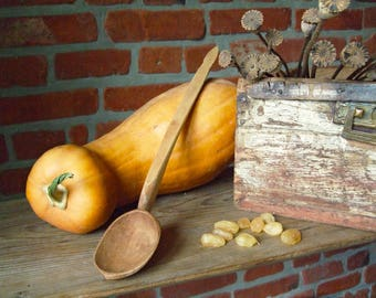 Vintage Large Hand Carved Wooden Spoon, Rustic Farmhouse Kitchen, Primitive Spoon, Antique spoon, Wooden ladle, Soviet Wooden Spoon, Ukraine