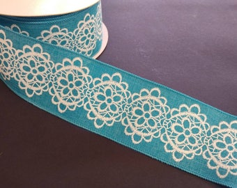 """FREE SHIPPING- 2.5"""" Wired Blue and White Lace Pattern Linen Ribbon - 5 Yards"""