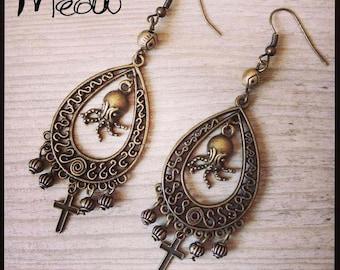"""Steampunk earring in bronze """"Strange Octopus"""""""
