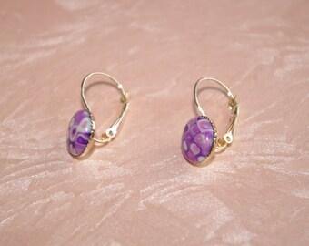 Earrings mosaic Fimo purple tones