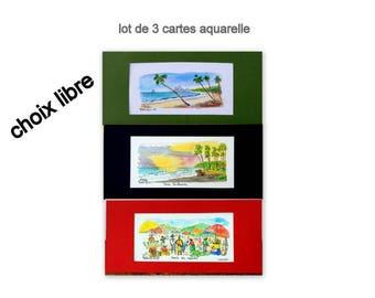 set of 3 cards watercolor-watercolor miniature@kreapat
