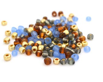 10 gr large blue, gold, Brown, grey 4mm glass seed beads / MPERRO035