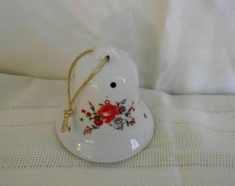 Vintage Hanging Ceramic Bell Pomander with flowers