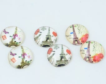 6 cabochons 20 MM Eiffel Tower Paris