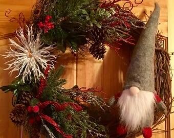 Winter Gnome grapevine wreath