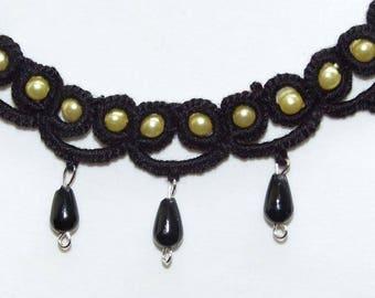 Set: necklace, lace earrings frrivolite