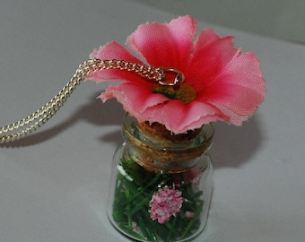 """""""A taste of spring"""" vial necklace grass and flower"""