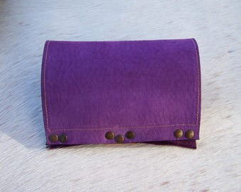 Tobacco pouch handcrafted purple mauve leather, and rust orange nubuck leather, solid, original and functional