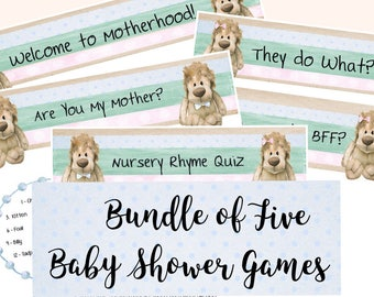 Baby Shower Games; Baby Games; Bear Baby Shower Games; Baby Bear Games; Game Bundle; Baby Shower Game Bundle
