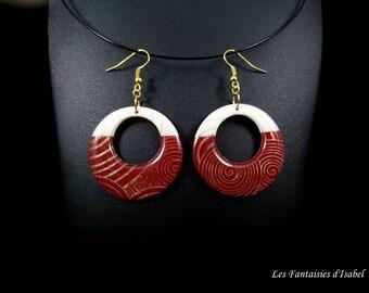 Pair of Burgundy and white earrings