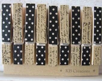 9 MINI clothespins decorated linen (n ° 47) polka dots and manuscript
