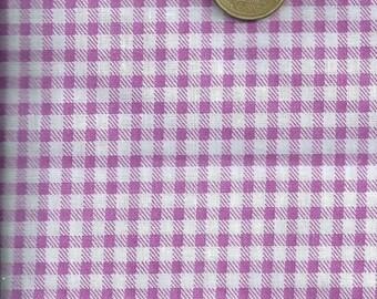 Purple GINGHAM fabric & white (45 x 45 cm) 100% fine cotton