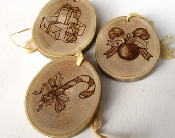 Christmas ornaments handmade wooden pyrographed boxes in Trentino, Italy. Gift for Christmas