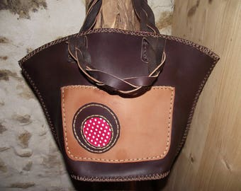 Brown genuine leather handbag