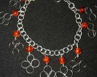 212. Hand Crafted Flower & Bead Bracelet with Matching Earrings.