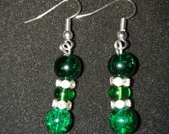 297. Glass Bead & Rhinestone Earrings