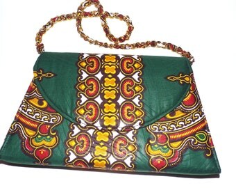 Party Time Forest Green African Dashiki Print Small Chain Strap Evening Bag