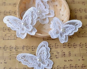 patch applique white ivory organza embroidered Butterfly sewing wedding dress