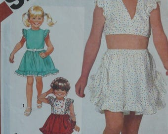 Girls Skirt and Top Pattern - Vintage Simplicity 5909 - Girl's Size 3-4-5 - Stretch Sewing