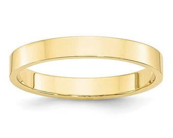 New 14K Solid Yellow Gold 3mm Flat Men's and Women's Wedding Band Ring Sizes 4-14 High Polished Stackable Thumb/ Knuckle Rings