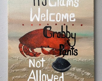 Crab and Clam Original acrylic painting on canvas.  12x16