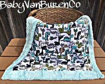 BabySizeShipsNow- Dinosaur Minky Baby Blanket - Crib Blanket