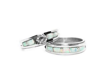 Opal Bridal Ring Set